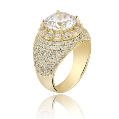 14K Gold Iced Cluster Diamond Band Ring