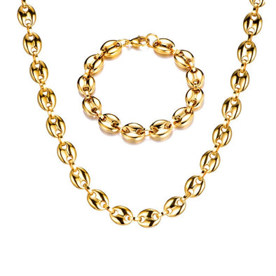 11mm 14K Gold Coffee Beans Bundle (Link Chain + Bracelet)