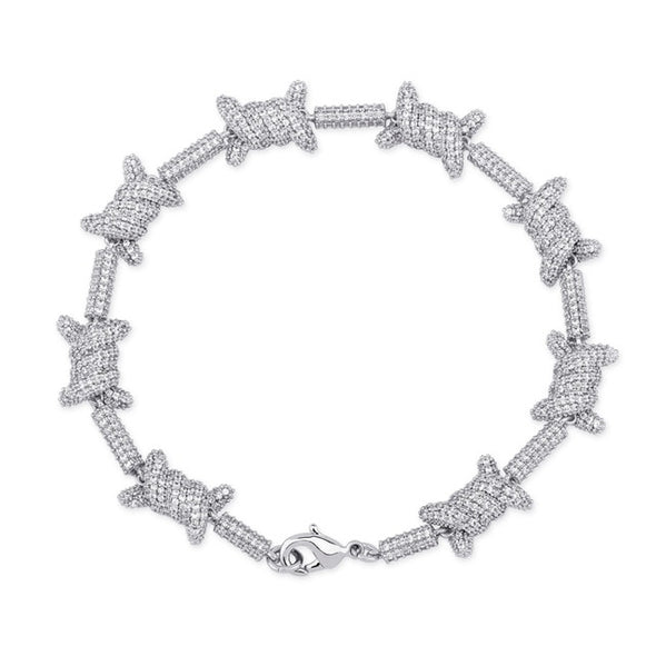 White Gold Iced Barbed Wire Bracelet