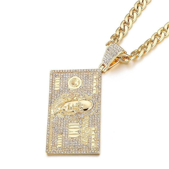 14K Gold Iced Dollar Necklace