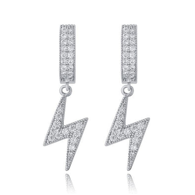 White Gold Iced Lightning Earrings