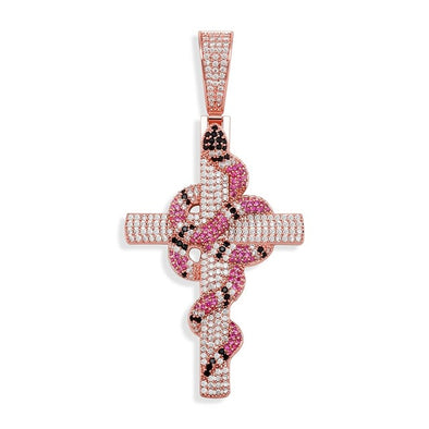 Rose Gold Iced Snake Cross Pendant
