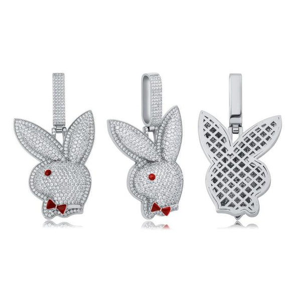 Urban Iced Red Eyed Rabbit Head Necklace