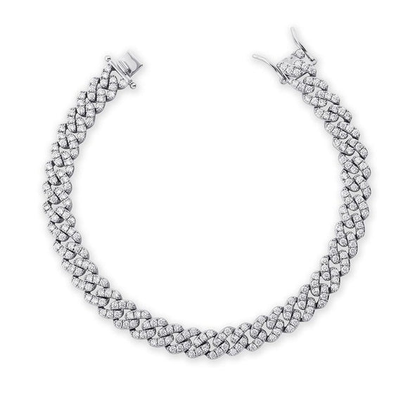 White Gold Iced Cuban Anklet - 9mm
