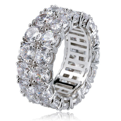 White Gold Iced Double Row Diamond Ring
