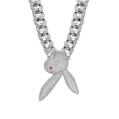 White Gold Iced Bunny Pendant