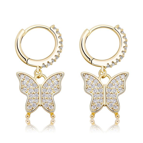 14K Gold Iced Butterfly Earrings