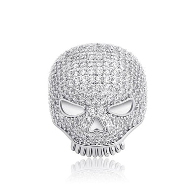 White Gold Iced Skull Ring