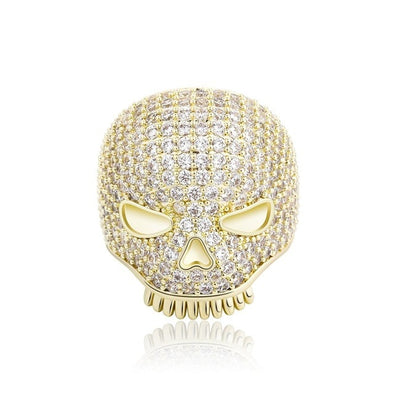 Gold Iced Skull Ring