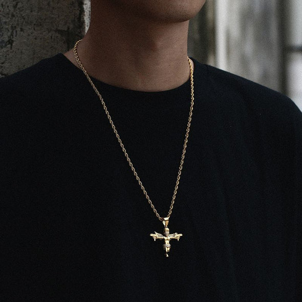 Urban Iced Glocks & Wings Angel Pendant