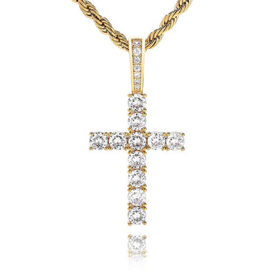 14K Gold Iced Cross Pendant