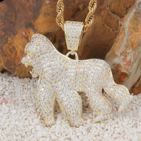 14K Iced Gorilla Necklace