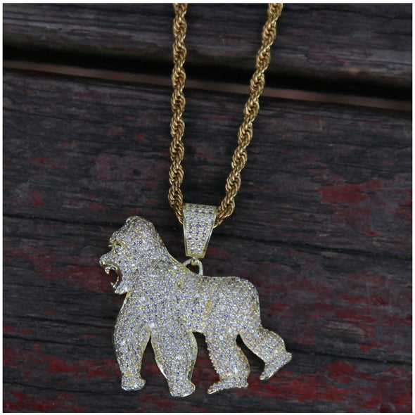 White Gold Iced Gorilla Necklace