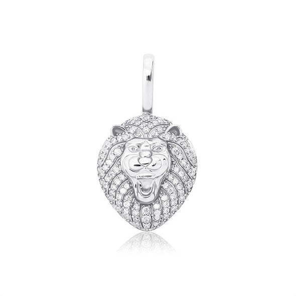 White Gold Iced Lion Pendant