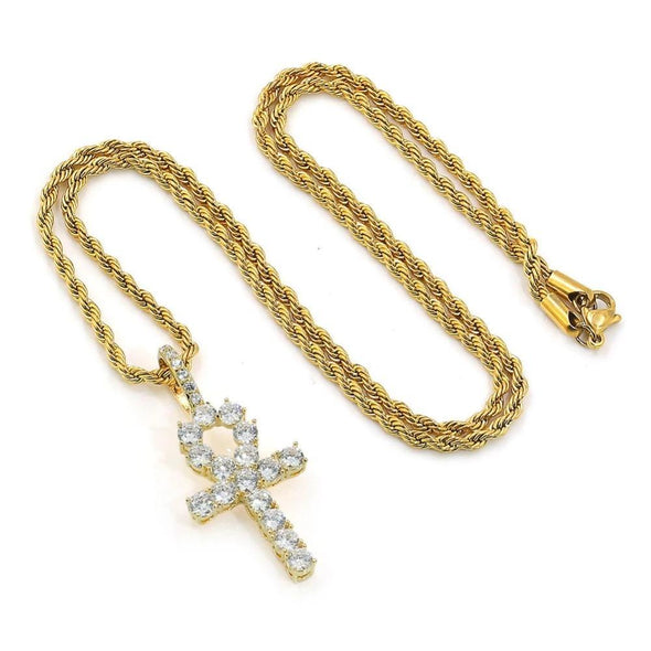 14K Gold Iced Ankh Cross Pendant