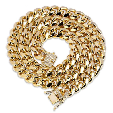 Miami Cuban Link Necklace (12mm) in Yellow Gold