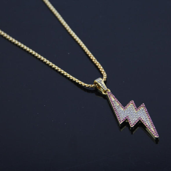 14K Gold Iced Micro Lightning Bolt Necklace