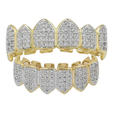 Gold CZ Studded Teeth Grillz