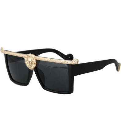 Lion Head Shades with Glossy Black Frame