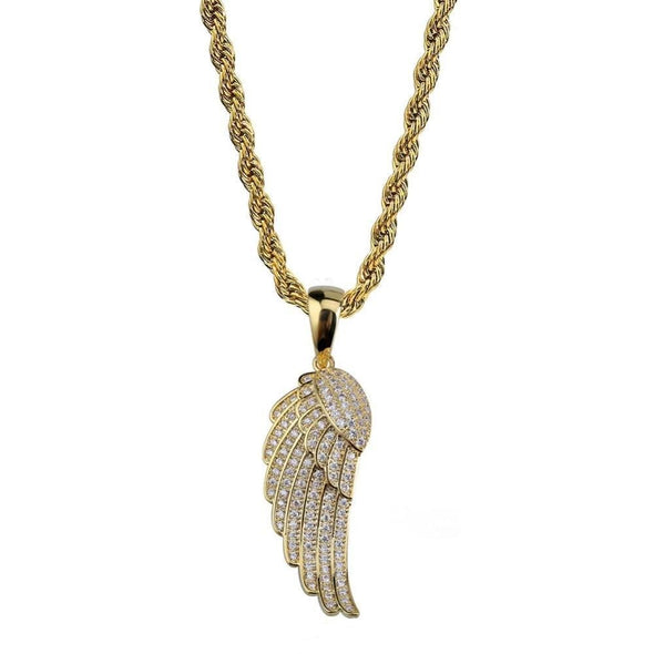 14K Gold Iced Angel Wings Pendant