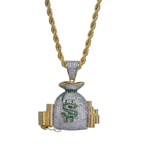Iced Money Bag Stack Pendant