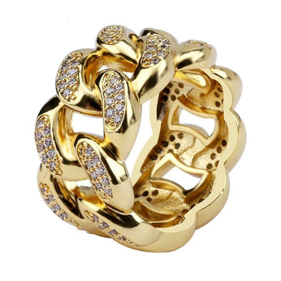 14K Gold Iced Cuban Link Ring
