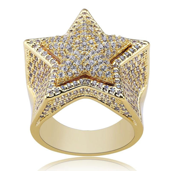 14K Gold Iced Diamond Star Ring