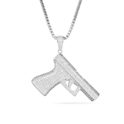 White Gold Rhodium Handgun Necklace