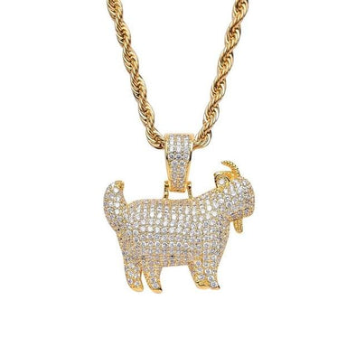 Urban Iced Goat Pendant Necklace