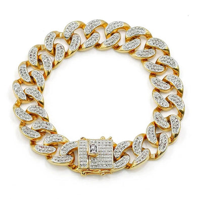 Diamond Cuban Link Bracelet in (15mm) in Yellow Gold