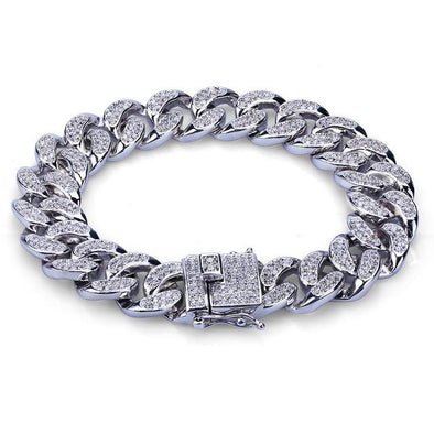 Diamond Cuban Link Bracelet in (15mm) White Gold