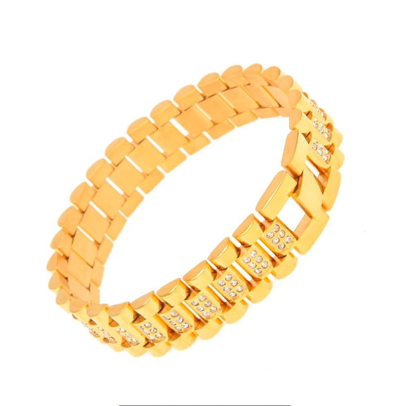 15mm 14K Gold Iced Stainless Steel Rolex Link Bracelet