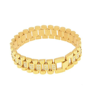 Stainless Steel CZ Rolex Link Bracelet (15mm) in Yellow Gold