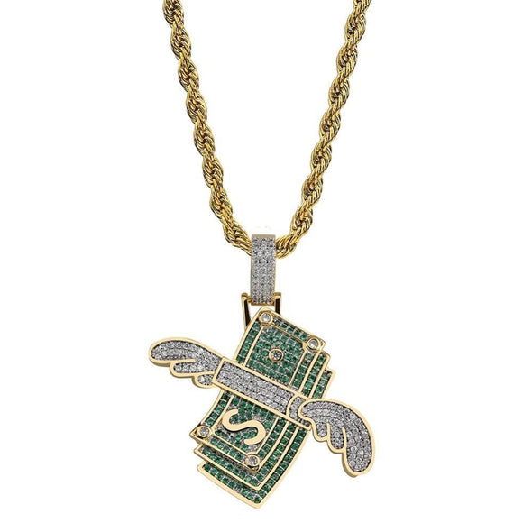 Iced Money With Wings Pendant