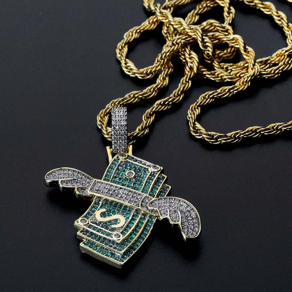 Iced Money With Wings Necklace