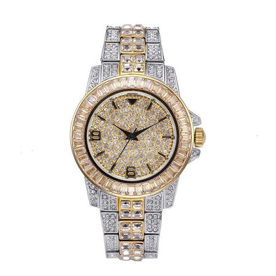 14K Gold Iced Two Tone Watch