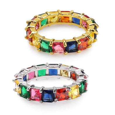 Multi Colored Baguette Ring