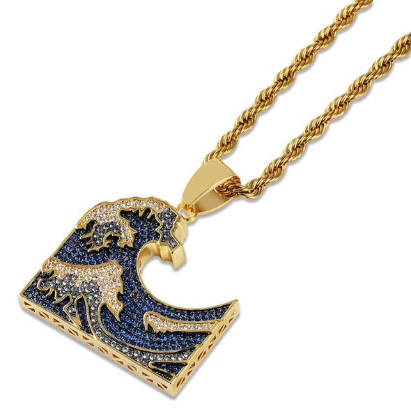 14K Gold Iced Great Wave Pendant