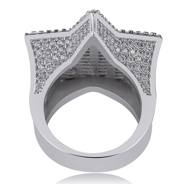 White Gold Iced Diamond Star Ring