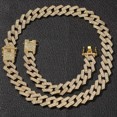 20mm 14K Gold Iced Prong Cuban Link Chain/Bracelet Bundle