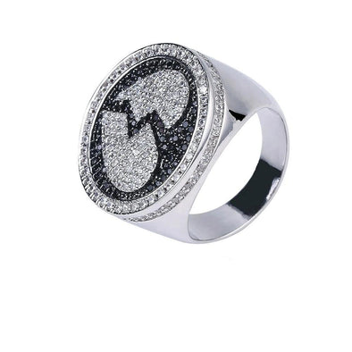 White Gold Iced Broken Heart Ring