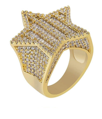 14K Gold Iced Star Ring
