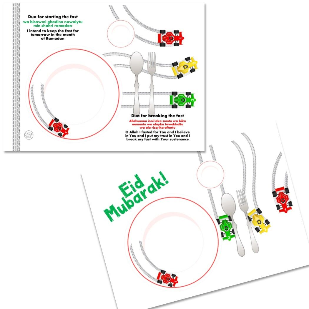 Eid Mubarak Kids Car Placemat- with duas