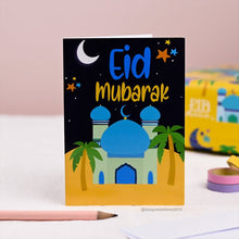 Load image into Gallery viewer, Blue Mosque Eid Mubarak Card