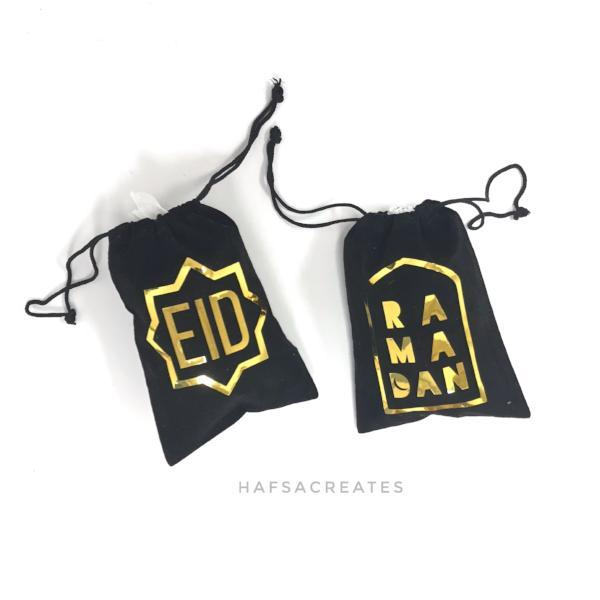 Gold foil Eid favor bags - set of five