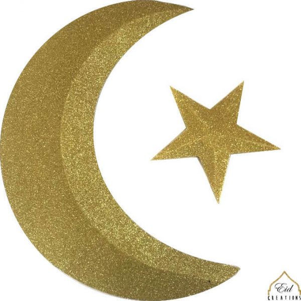 3D Glitter Gold Crescent Moon & Star