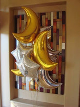 "Load image into Gallery viewer, Gold/Silver Crescent Mylar 36"" Balloon"