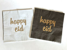 "Load image into Gallery viewer, ""Happy Eid"" Gold/Black Napkins"