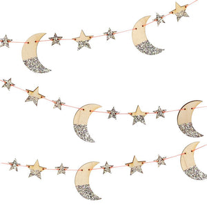 Wooden Glitter Moon and Star Garland