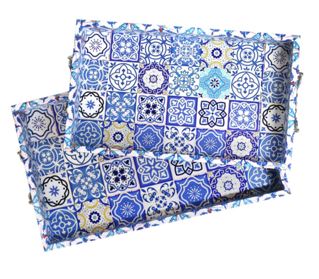 Ramadan Eid Blue Marrakech Decorative Tray Set
